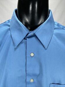 Arrow Men's Classic Fit Non-Iron Dress Shirt Sz 18 34/35 Blue