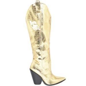 Stivale donna texano camperos lucido oro con tacco cono comodo in legno e stampa