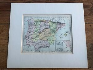 1907 mounted map. spain and portugal to illustrate the peninsular war !