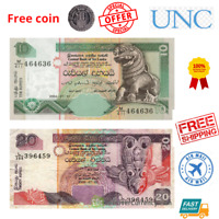 Sri Lanka CEYLON 10- 20 RUPEES 2pcs Bank Note Currency -Original UNC - free coin