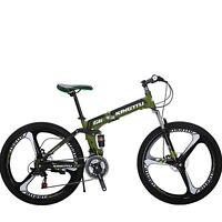 "26"" Folding Mountain Bike 21 Speed Bicycle Disc Brakes MTB Full Suspension Bikes"