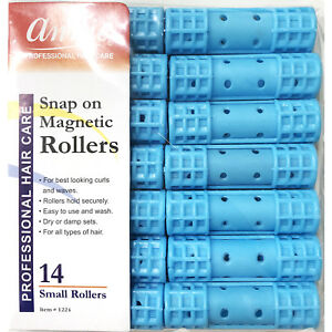 ANNIE SNAP ON MAGNETIC ROLLERS #1224, 14 COUNT BLUE SMALL 1/2""