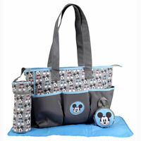 Disney Baby Mickey Mouse 4 pcs Diaper Bag, Bottle & Pacifier Tote Gray, Blue NEW