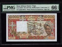 West African States/Togo:P-809Tl,10000 Francs,1977-92 * PMG Gem UNC 66 EPQ *