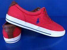 POLO RALPH LAUREN Vaughn Shoes Size 15 D Red w/ Blue Pony Men's Canvas NO LACES