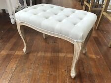 Stool Ottoman End of Bed French Provincial Upholstered Linen Button Seat 60cms