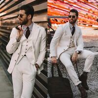 Men's White Corduroy Suits 3 Pieces Formal Party Prom Wedding Tuxedos Slim Fit