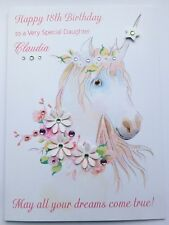 Personalised Birthday Card Unicorn Daughter Niece Granddaughter Large A5 Size