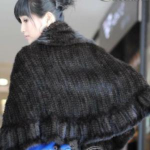 Hand Knit Genuine Mink Fur Stole Cape Shawl Scarf Coat Ladies Fur clothing-Black