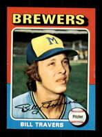 1975 Topps #488 Bill Travers NM/NM+ RC Rookie Brewers 509933