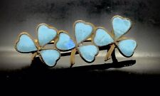 VICTORIAN ANTIQUE BROOCH PIN YELLOW METAL BLUE ENAMEL CLOVER TRILOGY ADORABLE
