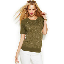 MICHAEL KORS ~Size XS~ Studded-Front Raglan Short Sleeve Sweater Top Retail $110