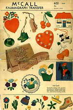 Vintage PATTERN for Felt Projects 622 needle case pincushion ornaments purse 30s