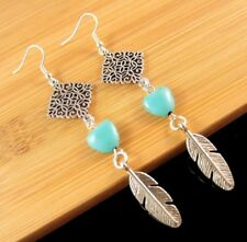 Handmade Turquoise Gemstone Heart Dangle Earrings with Metal Feathers #1528