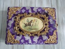 Vintage Antique Victorian Purple Velvet & Celluloid Horse Jockey Photo Album