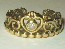 Pandora 18K on Sterling Silver Tiara 4pt Natural Diamond Crown Ring Sz 4.25