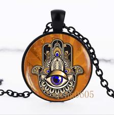 Hamsa Hand , Hand Of Fatima Glass Dome black Chain Pendant Necklace wholesale