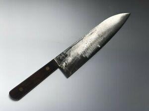 T0512 Japanese Kitchen Knife Santoku Hocho Vintage Signed Blade Handle