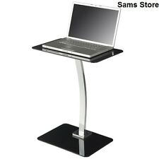 Stand Laptop Table Desk Notebooks TV Table Black Glass Chrome Frame Home Office