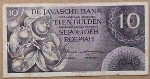 Netherlands Indies 10 Gulden / Roepiah, Javasche Bank, 1946, P-90, 3 letters pre