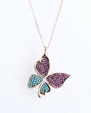 BUTTERFLY RUBY ROSE GOLD COLORED OVER .925 STERLING SILVER NECKLACE #66930