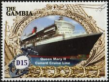 RMS QUEEN MARY 2 (QM2) Cunard Line Cruise / Ocean Liner Ship Stamp (2005 Gambia)