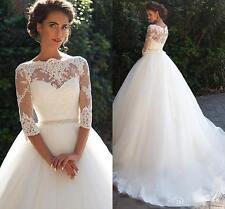 Modest Vintage Lace Millanova Wedding Dresses Long Sleeves Pearls Wedding Ball G