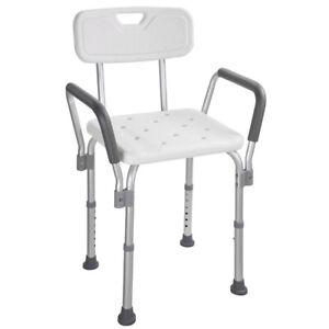 Aluminium Adjustable Medical Shower Aid Chair Bathtub Bath Seat Stool Arms Back