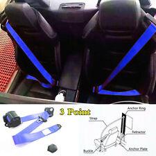 Blue Car 3Point Seat Belt Lap Set Adjustable Retractable Diagonal Belt Strap