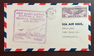 1931 First Flight Cover Route AM 2 P.O.D. Memphis, Tennessee to Tucson, Arizona