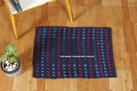 Indian Non Slip Floor Rug Home Entrance Carpet Blue Hand Woven Cotton Door Mat
