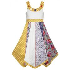 Girls Large Button Polka Dots Yellow Flare Dress Summer Dresses Age 3-11 Years