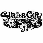Surfer Girl Hibiscus Flowers Surf Board car sticker decal You Pick Color