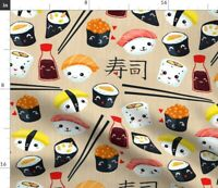 Kawaii Sushi Japanese Cute Food Chopsticks Fabric Printed by Spoonflower BTY