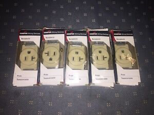 (5 Count) Cooper Wiring Devices 1877V-BOX Single Receptacle 20A-125V,