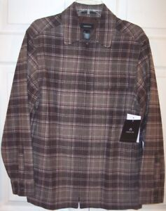 NWT Claiborne Men's Brown Plaid Lined Part Wool Casual Jacket, Small, $125