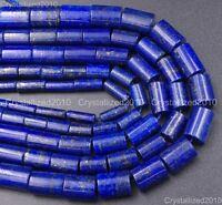 "Natural Lapis Lazuli Gemstone Tube Spacer Loose Beads 4mm 6mm 8mm 10mm 15.5"""
