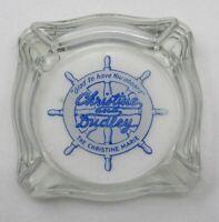 Beautiful Vintage Glass Ashtray Christine & Dudley Christine Marie Ship's Helm