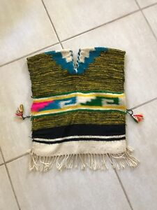 """VINTAGE-Wool Guatemalan Child Poncho-Approx 18"""" X 17""""Authentic Collectible"""