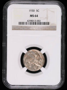 1930 BUFFALO HEAD NICKEL COIN NGC MS64