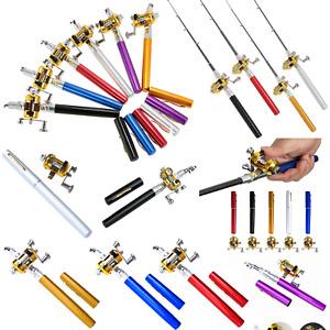 "Pocket Mini Portable Telescopic Aluminum Alloy Fishing Rod Pen 38"" Pole Rod Reel"