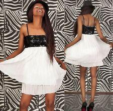 Plissee Kleid Chiffon Minikleid Pailletten Babydoll Rock Bandeaukleid Abendkleid