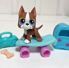 Littlest Pet Shop LPS Dog Lot Rust Great Dane Diamond  Eyes #588 & Accessories