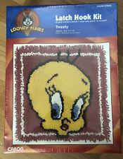 """New listing Latch Hook Kit Tweety Bird Looney Tunes Printed Canvas Pre-Cut Yarn 1994 13""""x13"""""""