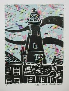 Original Collage Linocut Print of Southwold Lighthouse View Suffolk One of One