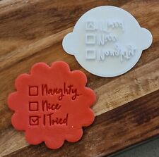 Naughty Nice Tried Christmas Cookie Stamp - Cupcake Embosser