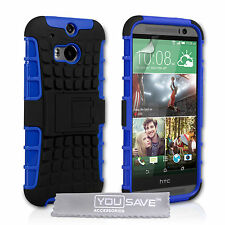 HTC One M8 2014 Silicone Rubber Phone Case Cover With Stand And Screen Film UK