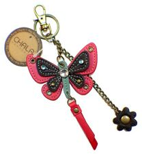 Chala Fuchsia Pink Butterfly Key Chain Purse Leather Bag Fob Charm New