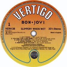 "BON JOVI SLIPPERY WHEN WET VERTIGO REPLICA LABEL STICKER 100MM ROUND 4"" LP SIZE,"