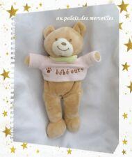 Doudou Peluche Ours Beige T-shirt Rose bébé ours Foulard Vert Amtoys 31 cm